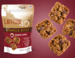 Cranberry Almond granola bites bag with 4 bites to the right and a red background