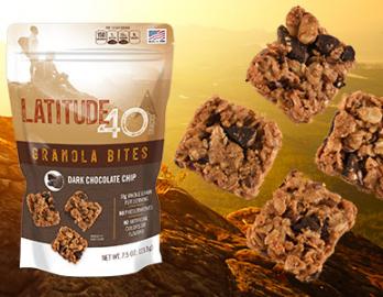 Ship 2 Home program - bag of latitude 40 dark chocolate chip granola bites with 4 granola bites next to it with mountain background