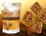 Salted Caramel granola bites bag with 4 bites and a mountain background